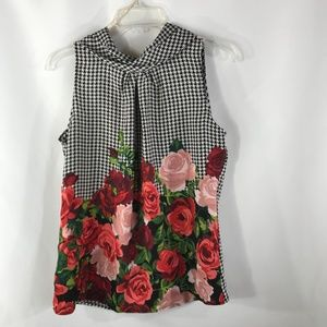 NY&CO. HOUNDS TOOTH W/ ROSES SIZE S BLOUSE